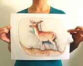 Art Print - Deer Print - Poster Art Print - Wall Art - Deer Watercolor Print - Watercolor Art Print  11x14 Print - I Still Need You