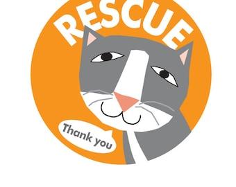 Rescue kitty bumper sticker choose black or gray cat