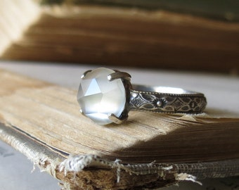 Moonstone Gemstone Ring Alternative Engagement Ring Promise Ring in Sterling Silver