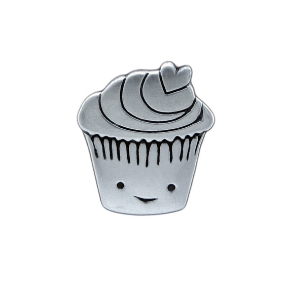 Sterling Silver Cupcake Necklace - Silver Muffin Pendant