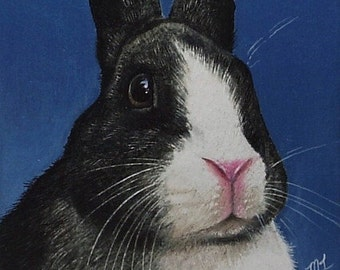 Black and White Bunny Rabbit Art by Melody Lea Lamb ACEO Print #91