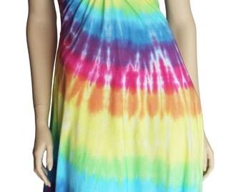 Pastel Rainbow tie dye spiral ladies midi dress S - 2XL tye dyed sleeveless