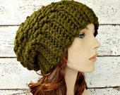 Crochet Hat Womens Hat Slouchy Beanie Slouchy Hat - Souffle Beret in Olive Green Crochet Hat - Green Hat Womens Accessories Winter Hat