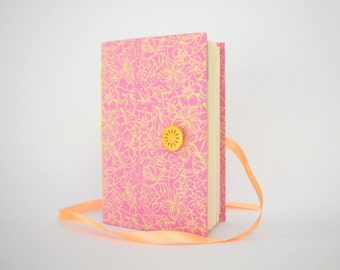 Pink flowers journal notebook Handmade journals Lined journal for writing made with Pink fabric decorated with flowers Memory journal diary