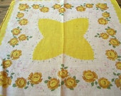 Vintage Cotton Hankie YELLOW ROSES Flowers Printed Floral