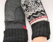 Medium Adult mittens, Remade from sweaters in charcoals, blacks and Nordic print, Lined for warmth! Canadian made