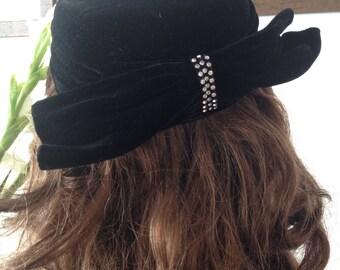 Little Black Velvet Bow Hat by Betmar