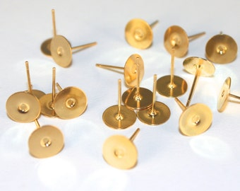 8mm ear studs, glue on gold plated ear studs with ear nuts, lead and nickel free