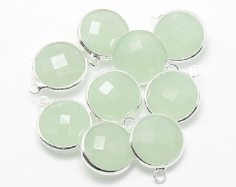 2 Faceted Round Glass Pendants, Seafoam Green Drops with a Smooth Silver Plated Bezel