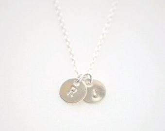 Tiny 2 Initials Necklace - silver initial necklace - engraved jewelry - 2 charms necklace - delicate jewelry - Tiny 2 Initial disc