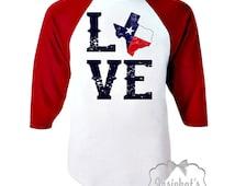 Texas Love Shirt - Kids Valentine Texas Shirt -  Texas Baseball Shirt - Baseball Red Boy Girl Retro Toddler Infant Kids Custom Size