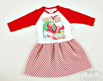 Santa Christmas Dress - Infant Christmas Dress - Retro Christmas Dress - Baseball Peppermint Stripe - Custom Size 6 month to Girl's 6