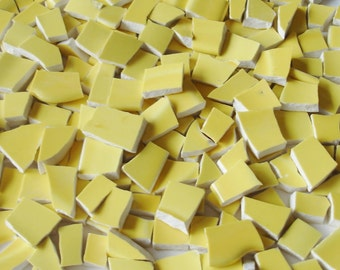 Mosaic Tiles Pieces - 150 - Sunny Side up - Yellow - Vintage Broken Plate Tessera- Plate Mosaic Tile Pieces