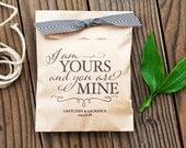 Wedding Favor Bags - Thank you gift Bag - I am Yours - 25 Printed Kraft Bags