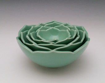 Ceramic Nesting Bowls Serving Bowls Set of Five Green Bowls or Your Choice of Color
