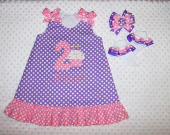 Lavender Polka Dot Cupcake Applique Monogram A-line Dress with Pink Polka Dot Ruffle - Age Number - Birthday Party