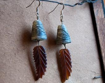 Feather Totem Tribal Bell Earrings