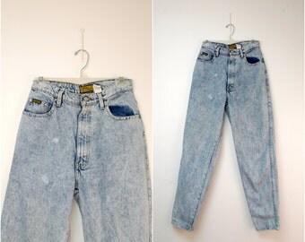 "Sasson Modern Basics . 80s 90s vintage high waist . acid wash jeans . size 12 / high waist 30"""
