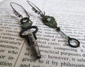 Archeology Series #003: rustic bohemian boho gypsy tribal industrial metal glass earrings Victorian Edwardian vintage
