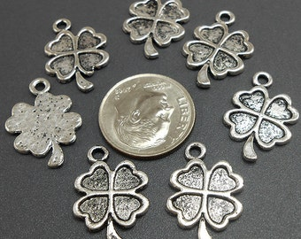 18 Four Leaf Clover Charms Silver Tone Metal (H9129)