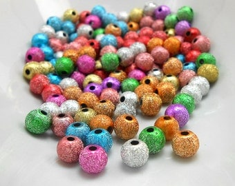 100 Mixed Color Acrylic Stardust Beads 6mm (H1894)