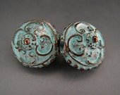 Victorian Puffy Coin Lentil Beads Pair Mykonos Greek Copper Antiqued Green Turquoise Naos
