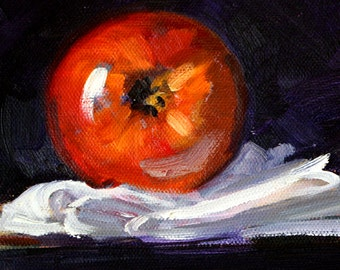 Still Life Oil Painting, Original Apple on Linen, Small 6x6 Kitchen Wall Decor, Red, White, Dark, Light, Canvas Food Art, Purple