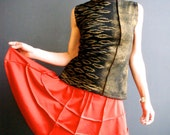 Quest - iheartifnk Handmade Hand Printed Womens Black Metallic Gold Wearable Art Print Jersey Tank Top