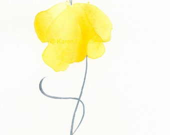 "Original watercolor flower painting of a yellow flower: ""Sunshine Sway"""