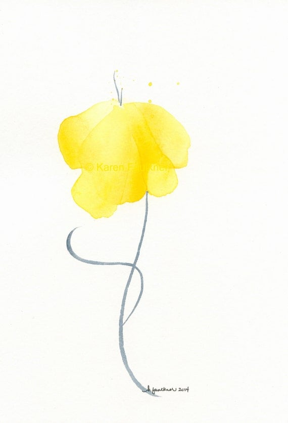 """Original watercolor flower painting of a yellow flower: """"Sunshine Sway"""""""