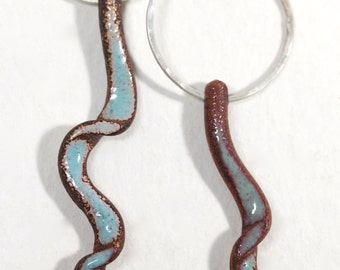 Wavy Twisted Enamel Earrings in Aqua color