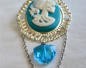 Brooch. Blue turquoise crystal Cameo Lolita Skeleton. Steampunk