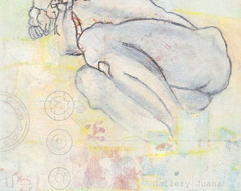 male figure drawing, mixed media painting and collage on gallery wrap. 8 x 10