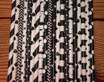 30 Black Paper Straws, assorted patterns, stripes, dots, chevron, spiral, hearts, stars