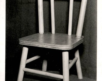 vintage photo 1960s Wooden Childs Chair Furniture RPPC