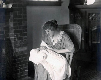 Vintage photo Reprint Welcome the New Baby with Mother