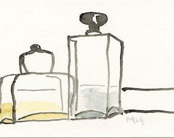 Two Bottles // ORIGINAL drawing / painting / ooak  Vang paper