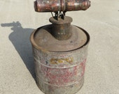 Antique Peerless Miller Safety Device Vintage Kerosene Oil Gas can Original Wooden Handle