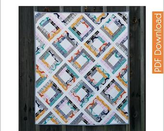 Modern Quilt Pattern - Garden Trellis - PDF