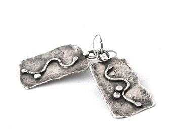 Large Sterling Silver Dangle Earrings