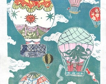 Hot Air Balloons XVI - Multimedia - Lino Block Print Historic Hot Air Balloons in Cloudy Sky with Collaged Japanese Papers & Ephemera