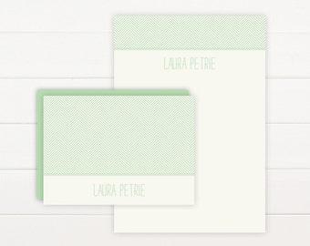 HERRINGBONE Personalized Stationery + Notepad Set - Personalized Notepad and Personalized Stationary