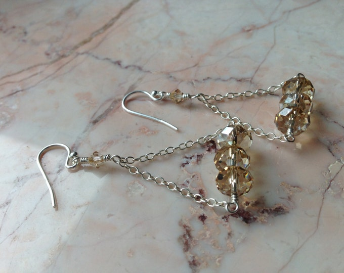 Swarovski Crystal and Chain Earrings