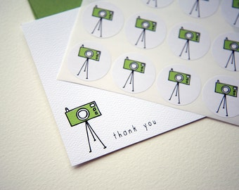Tripod Camera Personalized Stationery or Thank You Cards Set with Stickers
