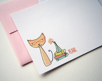 Smart Kitty Personalized Stationery or Thank You Notes and Sticker Set
