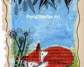 Fox illustration, Pen and Ink Illustration, Children's wall art, Original drawing