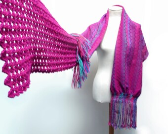 Handwoven and Crochet Shawl Scarf - Hot Pink Purple Blue Teal Green Wool Stole with Crochet Lace and Wood Brooch Button - MADE TO ORDER