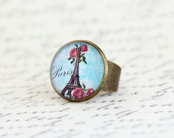Statement Ring Eiffel Tower - Paris Jewelry -  City of Paris - Gift For Traveler - Fashion Ring - Adjustable Ring - Gift For Woman