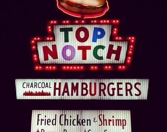 Austin Texas - Top Notch Hamburgers Square Metallic Photograph