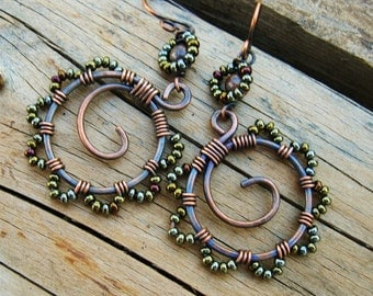 Bead Dance earrings in Brown Metallic iris mix - wire wrapped seed beaded copper hoops